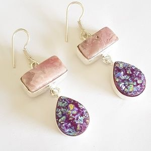 Purple druzy sterling silver dangle earrings